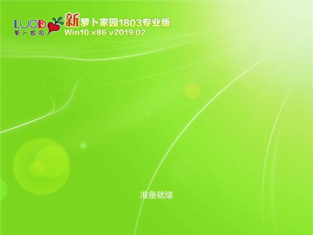 萝卜家园 Win10 x86(1803专业版)v2019.02